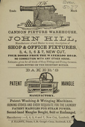 Advert for John Hill, shop & office fixtures